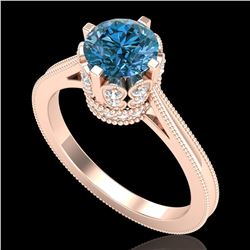 1.5 ctw Fancy Intense Blue Diamond Art Deco Ring 18k Rose Gold - REF-209F3M
