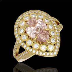 4.22 ctw Certified Morganite & Diamond Victorian Ring 14K Yellow Gold - REF-195R6K