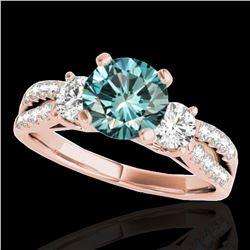 1.5 ctw SI Certified Fancy Blue Diamond 3 Stone Ring 10k Rose Gold - REF-129G5W