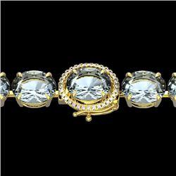 60 ctw Aquamarine & Micro VS/SI Diamond Bracelet 14k Yellow Gold - REF-945N5F