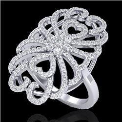 2.25 ctw Micro Pave VS/SI Diamond Designer Ring 18k White Gold - REF-191A3N