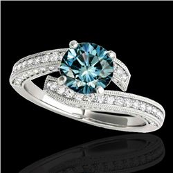 2 ctw SI Certified Fancy Blue Diamond Bypass Solitaire Ring 10k White Gold - REF-170A5N