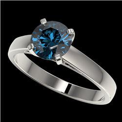 1.50 ctw Certified Intense Blue Diamond Engagment Ring 10k White Gold - REF-171W8H