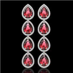 10.48 ctw Tourmaline & Diamond Micro Pave Halo Earrings 10k White Gold - REF-281G8W