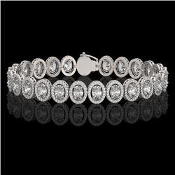 15.8 ctw Oval Cut Diamond Micro Pave Bracelet 18K White Gold - REF-2129R2K