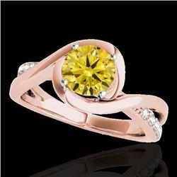 1.15 ctw Certified SI/I Fancy Intense Yellow Diamond Ring 10k Rose Gold - REF-182N8F