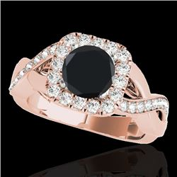 1.65 ctw Certified VS Black Diamond Solitaire Halo Ring 10k Rose Gold - REF-60W5H