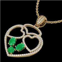 3 ctw Emerald & Micro Pave Designer Heart Necklace 14k Yellow Gold - REF-134Y5X