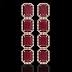 20.59 ctw Ruby & Diamond Micro Pave Halo Earrings 10k Rose Gold - REF-230M9G