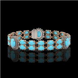 14.58 ctw Turquoise & Diamond Bracelet 14K Rose Gold - REF-254M5G