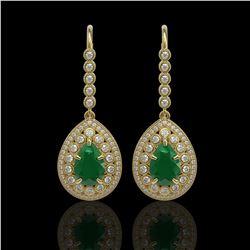 10.15 ctw Certified Emerald & Diamond Victorian Earrings 14K Yellow Gold - REF-327X3A