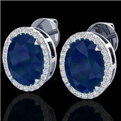 5.50 ctw Sapphire & Micro VS/SI Diamond Halo Earrings 18k White Gold - REF-81W8H