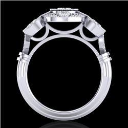 1.51 ctw VS/SI Diamond Solitaire Art Deco 3 Stone Ring 18k White Gold - REF-300R2K