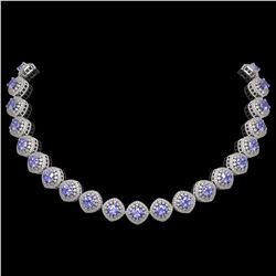 83.82 ctw Tanzanite & Diamond Victorian Necklace 14K White Gold - REF-2511Y8X