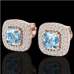 2.16 ctw Sky Blue Topaz & Micro VS/SI Diamond Earrings 14k Rose Gold - REF-89A3N
