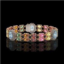 21.1 ctw Sapphire & Diamond Bracelet 14K Rose Gold - REF-273H3R