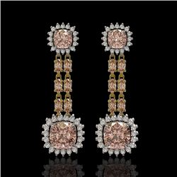 17.42 ctw Morganite & Diamond Earrings 14K Yellow Gold - REF-431Y3X