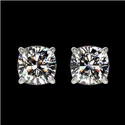 1 ctw Certified VS/SI Quality Cushion Diamond Stud Earrings 10k White Gold - REF-120H3R