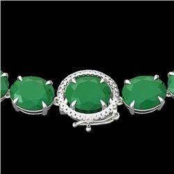 170 ctw Emerald & VS/SI Diamond Halo Micro Necklace 14k White Gold - REF-1545A5N