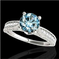 1.5 ctw SI Certified Fancy Blue Diamond Antique Ring 10k White Gold - REF-166R4K