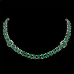 43.97 ctw Emerald & Diamond Necklace 14K White Gold - REF-527X3A
