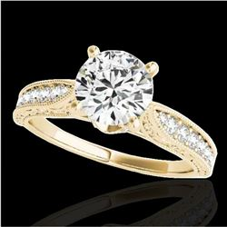 1.21 ctw Certified Diamond Solitaire Antique Ring 10k Yellow Gold - REF-184R3K