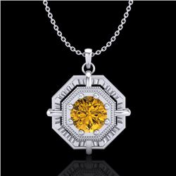 0.75 ctw Intense Fancy Yellow Diamond Art Deco Necklace 18k White Gold - REF-153M6G