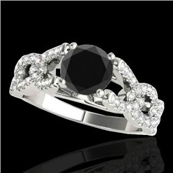 1.5 ctw Certified VS Black Diamond Solitaire Ring 10k White Gold - REF-58K8Y