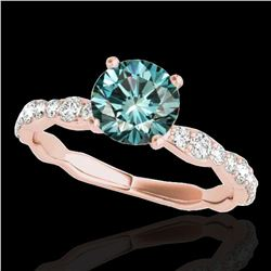 1.4 ctw SI Certified Fancy Blue Diamond Solitaire Ring 10k Rose Gold - REF-117R3K
