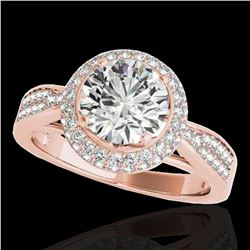 1.65 ctw Certified Diamond Solitaire Halo Ring 10k Rose Gold - REF-204N5F