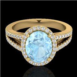 3 ctw Aquamarine & Micro VS/SI Diamond Halo Ring 18k Yellow Gold - REF-83W6H