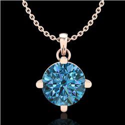 1 ctw Intense Blue Diamond Art Deco Stud Necklace 18k Rose Gold - REF-154W5H