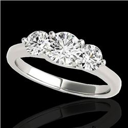 2 ctw Certified Diamond 3 Stone Solitaire Ring 10k White Gold - REF-300M2G