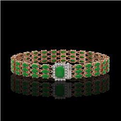 18.41 ctw Jade & Diamond Bracelet 14K Rose Gold - REF-318M2G