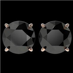 4.19 ctw Fancy Black Diamond Solitaire Stud Earrings 10k Rose Gold - REF-68K8Y