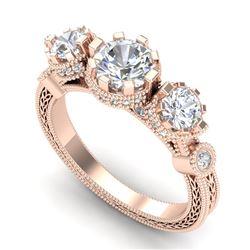 1.75 ctw VS/SI Diamond Solitaire Art Deco 3 Stone Ring 18k Rose Gold - REF-309N3F