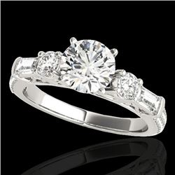 2 ctw Certified Diamond Pave Solitaire Ring 10k White Gold - REF-231G8W