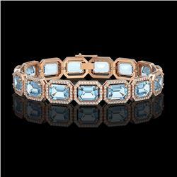 35.61 ctw Sky Topaz & Diamond Micro Pave Halo Bracelet 10k Rose Gold - REF-323K6Y