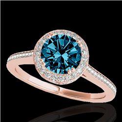 1.55 ctw SI Certified Fancy Blue Diamond Halo Ring 10k Rose Gold - REF-135F2M