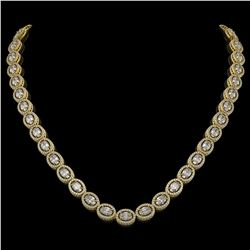 30.41 ctw Oval Cut Diamond Micro Pave Necklace 18K Yellow Gold - REF-4148R9K
