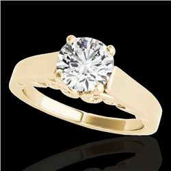 1 ctw Certified Diamond Solitaire Ring 10k Yellow Gold - REF-170F5M