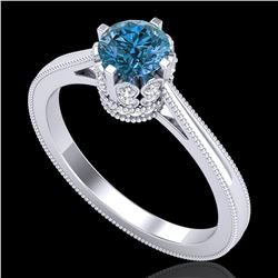 0.81 ctw Fancy Intense Blue Diamond Art Deco Ring 18k White Gold - REF-103W6H