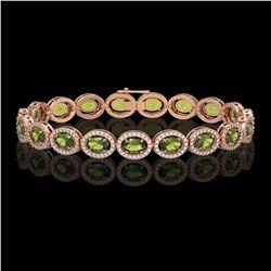 13.87 ctw Tourmaline & Diamond Micro Pave Halo Bracelet 10k Rose Gold - REF-309W3H