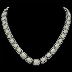53.59 ctw Opal & Diamond Micro Pave Halo Necklace 10k White Gold - REF-890K9Y