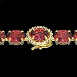 27 ctw Pink Tourmaline & VS/SI Diamond Micro Bracelet 14k Yellow Gold - REF-292N5F
