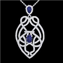 3.50 ctw Tanzanite & Micro VS/SI Diamond Heart Necklace 14k White Gold - REF-191X3A