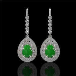 8.15 ctw Jade & Diamond Victorian Earrings 14K White Gold - REF-241H6R