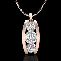 1.07 ctw VS/SI Diamond Solitaire Art Deco Stud Necklace 18k Rose Gold - REF-178K2Y