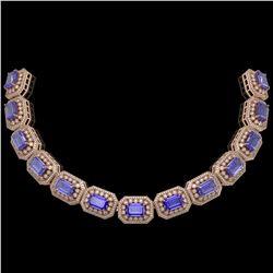50.67 ctw Tanzanite & Diamond Victorian Bracelet 14K Rose Gold - REF-2709W3H