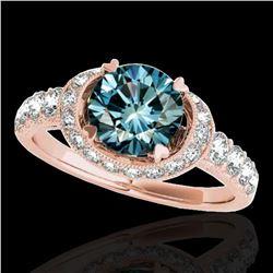 1.75 ctw SI Certified Fancy Blue Diamond Halo Ring 10k Rose Gold - REF-135K2Y